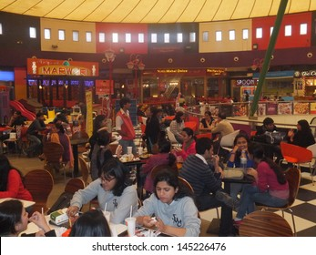 DELHI, INDIA - DECEMBER 9: Food Court at the Great India Place mall in Noida in Delhi, India, as seen on December 9, 2011. Great India Place is one of the largest operational malls in India.