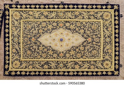 DELHI, INDIA - FEBRUARY 13: Carpet from wool and silk of classical design, Delhi, India on February 13, 2016.