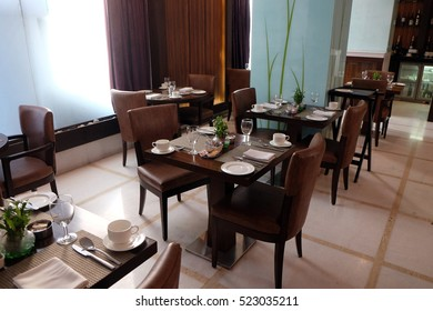 DELHI, INDIA - FEBRUARY 13 : Interior of the restaurant in the Country Inn & Suites By Carlson hotel in Saket, Delhi, India on February 13, 2016.
