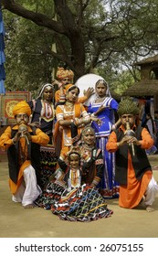DELHI, INDIA - FEBRUARY 13: Tribal dancers and musicians at Sarujkund Fair near Delhi, India on February 13, 2009