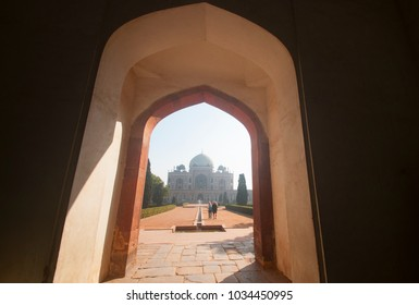 Delhi, India - February 14 ,2018: : Unidentified tourist visit the Humayun's Tomb Complex, the tomb of the Mughal Emperor Humayun, a UNESCO World Heritage Site.