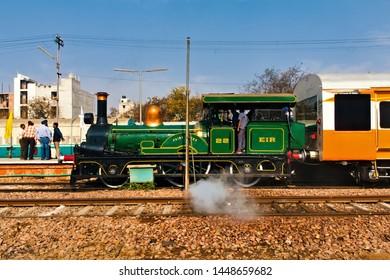 Delhi, India - February 2018 : World's Oldest Steam Locomotive, East India Railway EIR 22 Locomotive (Fairy Queen) on special run between Delhi Cantonment and Rewari steam shed.
