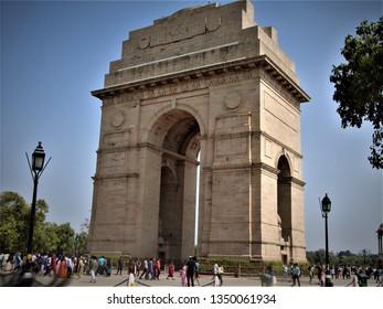 Delhi, Delhi / India - February, 8, 2019 : majestic view of India Gate housing Amar Jawan Jyoti and facing Rashtrapati Bhawan