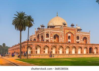 DELHI, INDIA - JAN 18, 2016: Humayun's Tomb complex,the tomb of the Mughal Emperor Humayun in Delhi, India. UNESCO World Heritage Site