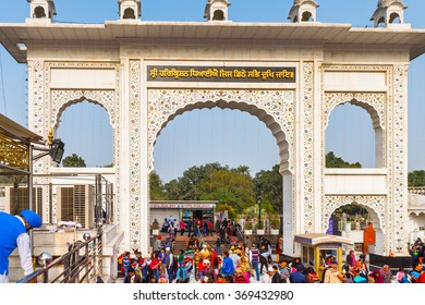 DELHI, INDIA - JAN 18, 2016: Gurdwara Bangla Sahib, is the main Sikh temple in India. It's known for its association with the eighth Sikh Guru, Guru Har Krishan