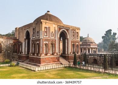 DELHI, INDIA - JAN 18, 2016: Qutb complex (Qutub),  an array of monuments and buildings at Mehrauli in Delhi, India. UNESCO World Heritage Site