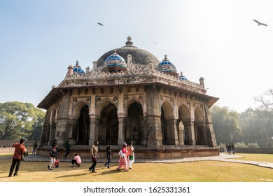 DELHI, INDIA - Jan 19, 2020: The Tomb of Isa Khan Niazi, part of the Humayun's Tomb complex. A World Heritage Site