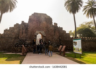 DELHI, INDIA - Jan 19, 2020: Entrance to the Tomb of Isa Khan Niazi, part of the Humayun's Tomb complex. A World Heritage Site