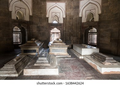 DELHI, INDIA - Jan 19, 2020: Inside the Tomb of Isa Khan Niazi, part of the Humayun's Tomb complex. A World Heritage Site