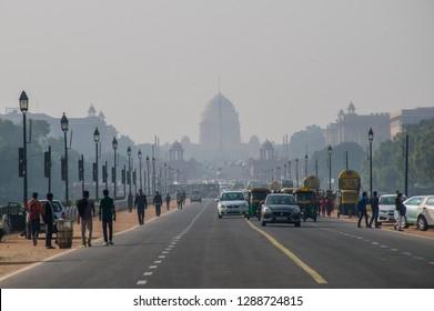 Delhi / India - Jan 2018: The square near Indian Parliament building in New Delhi.