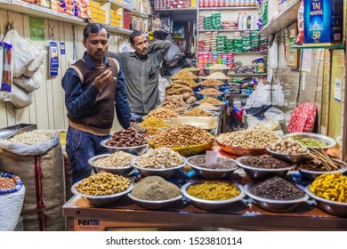 DELHI, INDIA - JANUARY 24, 2017: Nuts and dried fruit store at Khari Baoli in Delhi, location of the Asia's largest wholesale spice market.