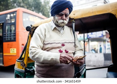 DELHI, INDIA - JANUARY 4, 2015: Bearded Indian man on January 4, 2015 in Delhi, India