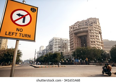 DELHI, INDIA - JANUARY 4, 2015: Statesman house and road sign on January 4, 2015 in Delhi, India