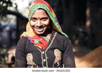 DELHI, INDIA - JANUARY 4, 2015: Young Indian woman at work on January 4, 2015 in Delhi, India