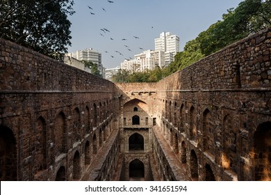 DELHI, INDIA - JANUARY 4, 2015: Agrasen ki Baoli on January 4, 2015 in Delhi, India. Agrasen ki Baoli is a step well and is believed it was built during the Mahabharat epic era.