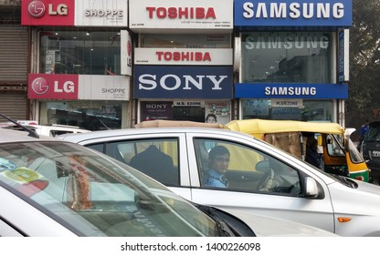Delhi, India - January 9 2014: LG SONY TOSHIBA SAMSUNG electronics stores doing their business side by side in Delhi, capital city of India.
