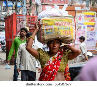 Delhi, India - Jul 26, 2015. People walking at the old market in Delhi, India. According to the 2011 census of India, the population of Delhi is 16,753,235.