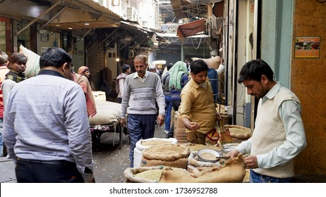 DELHI, INDIA - MARCH 14, 2019: a busy laneway at the spice market of chandni chowk
