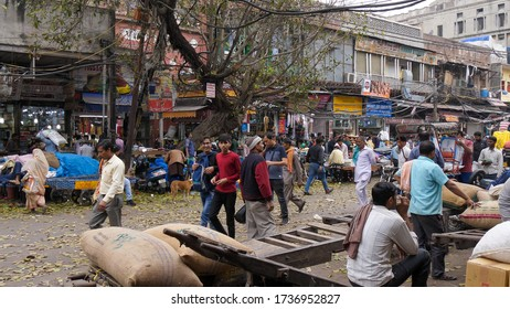 DELHI, INDIA - MARCH 14, 2019: wide view of part of the spice market at chandni chowk