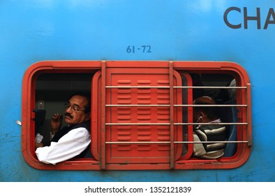 DELHI, INDIA - March 2, 2019: Passengers of the train of the indian railway.