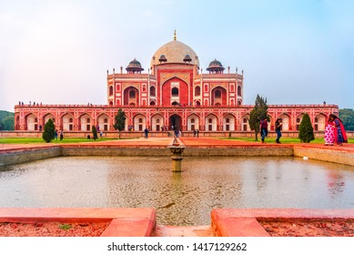 Delhi, India - March 2019: Humayun's tomb is the tomb of the Mughal Emperor Humayun in Delhi, India. Designed by Persian architects chosen by Humayun's first wife, Empress Bega Begumin, in 1569-70