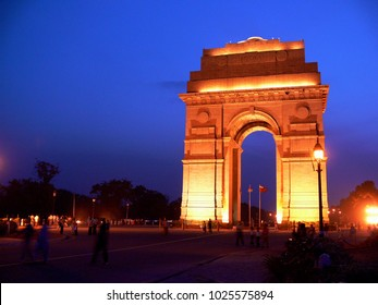 Delhi, India - May 01 2006: lightened India Gate at dawn in front of dark blue sky