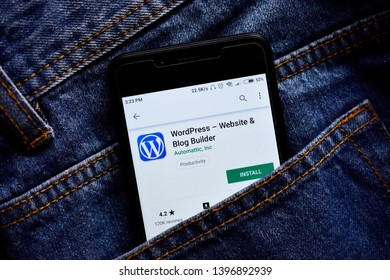Delhi, india, May 13, 2019: wordpress web development platform application on smartphone, wordpress app on playstore