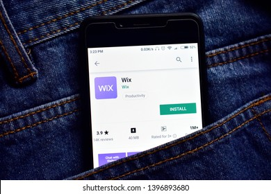 Delhi, india, May 13, 2019: wix web development platform application on smartphone, wix app on playstore