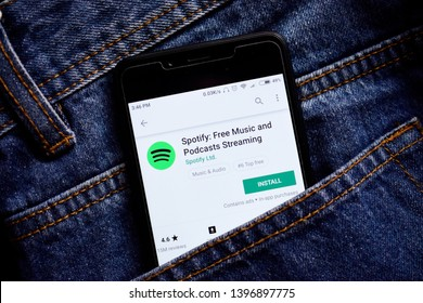 Delhi, india, May 13, 2019: spotify music application, spofity app in play store