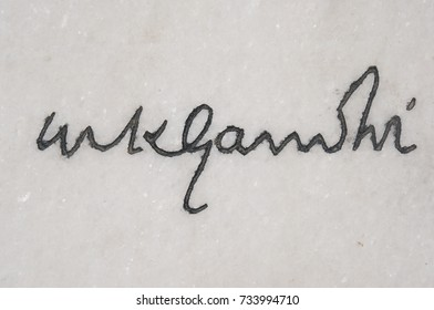 DELHI, INDIA - MAY 13: Signature of Mahatma Gandhi engraved on white marble at Raj Ghat, a memorial of the father of the nation on May 13, 2017 , North India.