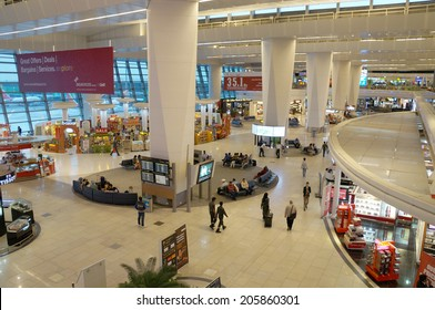 Delhi, India- MAY 27 : The main hall of  Delhi Indira Gandhi International airport on May 27, 2014. This airport is the largest airport in India, which was constructed in 2010.