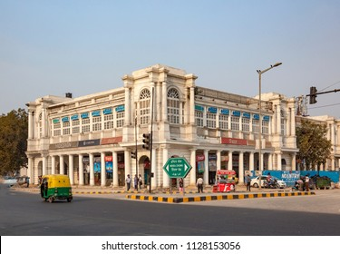 DELHI, INDIA - NOV 16, 2011: people at Connaught Place. It is one of the largest financial, commercial and business centers on Nov  in Delhi, India. The construction work was completed in 1933.