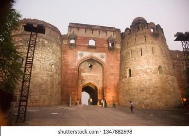 DELHI, INDIA - November 14, 2010: Purana Qila old Fort, Mathura Rd, Near Delhi Zoo, New Delhi, Delhi 110003
