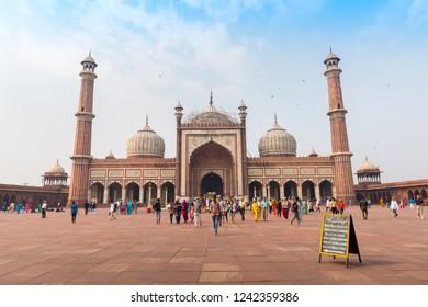 Delhi, India - November 19, 2018: Tourists and local people visiting Jama Masjid.