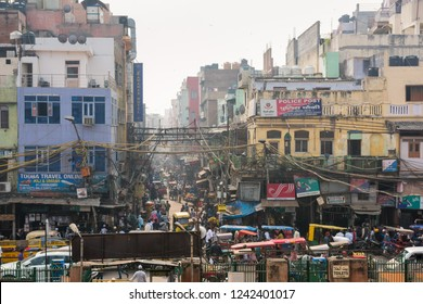 Delhi, India - November 19, 2018: People on the crowded street of Chandni Chowk Market.
