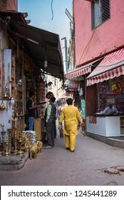 Delhi, India - November 19, 2018: People walking on the street of Chandni Chowk Market.