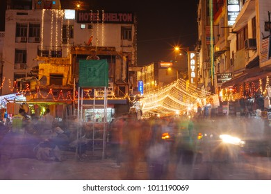 DELHI, INDIA - NOVEMBER 2: People are busy with daily activities on famous Main Bazaar Road on November 2, 2016 in Delhi
