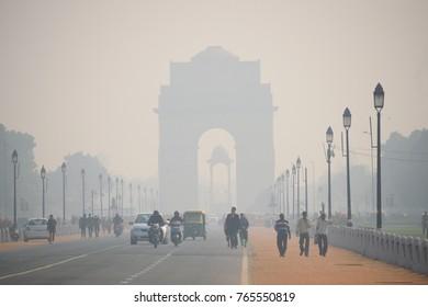 Delhi, India - November 21, 2017: India gate covered in heavy smog.