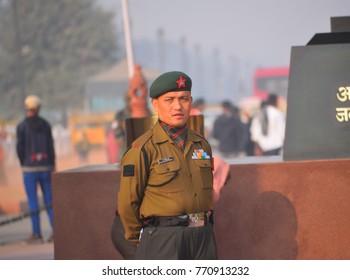 Delhi, India - November 21, 2017: Soldier guarding the Amar Jawan Jyoti in India gate.