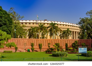 Delhi, India – October 2018: The Sansad Bhawan or Parliament Building is the house of the Parliament of India, New Delhi. It was designed by the British architect Edwin Lutyens & Herbert Baker in 1912