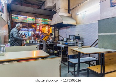 DELHI, INDIA - OCTOBER 22, 2016: Small cheap eatery in Paharganj district of Delhi, India.