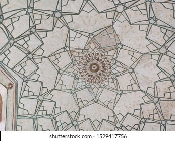 Delhi, India – October 4, 2019: The Roof design of Chhatta Chowk that contains a bazaar, or market, located in the Red Fort of Delhi, India.
