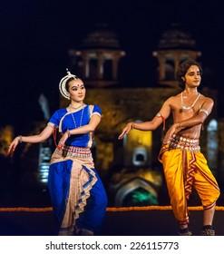 Delhi, India- October 9, 2012: Dancers perform on stage show at Purana Quila park in New Delhi.
