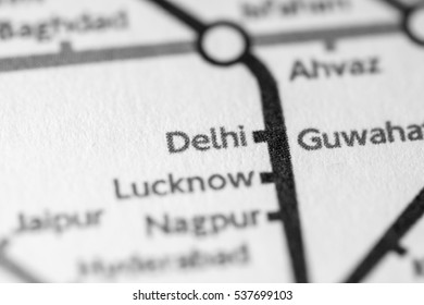 Delhi, India on a geographical map.