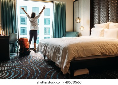 DELHI, INDIA, September 1, 2016: Happy backpacker traveller happy to stay in Pullman New Delhi Aerocity in DELHI, INDIA, September 1, 2016