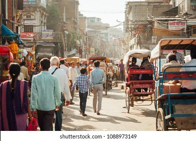 Delhi, India - September 18, 2014: Crowd of people on the street of Chandni Chowk in Old Delhi, India on September 18, 2014.