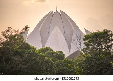 Delhi / India - September 19, 2019: The Lotus Temple, a Bahai House of Worship in New Delhi, India