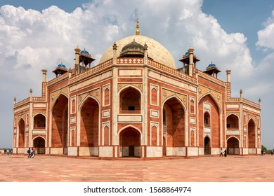Delhi / India - September 21, 2019: Humayun's tomb, the mausoleum of the Mughal Emperor Humayun in New Delhi, India