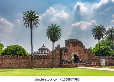 Delhi / India - September 21, 2019: Tomb of Isa Khan, part of the Humayun's tomb mausoleum complex in Delhi, India