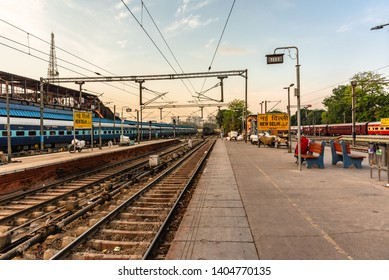 DELHI, INDIA-APRIL, 2019: New Delhi Railway Station is busiest railway station in terms of train frequency & passenger movement. It holds the record for largest route interlocking system in the world.
